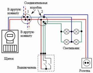 Параллельное соединение розетки и выключателя