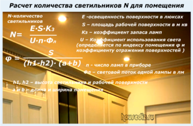 Как рассчитать количество потолочных светильников?