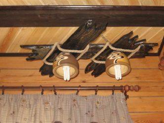 Деревянная люстра на кухню своими руками