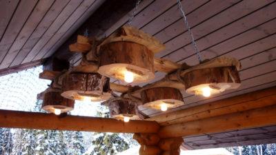 Люстры в беседку из дерева