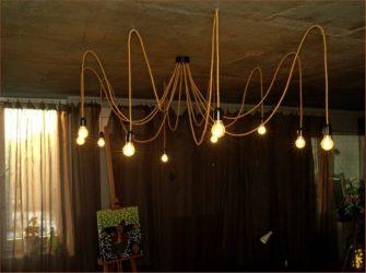 Люстра из проводов и лампочек своими руками