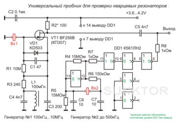 Прибор для проверки частоты кварцев