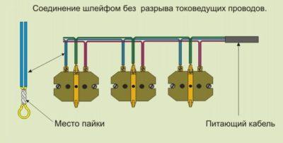 Шлейфовое соединение розеток