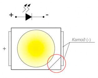 Полярность светодиода на плате