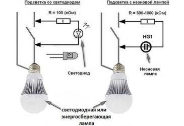 Выключатель со светодиодом мигает лампа